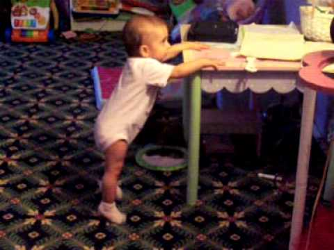 Angelina 8 months old today dancing and breaking to walk.MOV