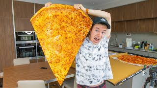 Eating the World's BIGGEST Slice of Pizza!!