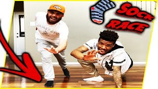 HE ALMOST DIED! HILARIOUS SOCK RACE GONE WRONG!! - Office Shenanigans Ep.4