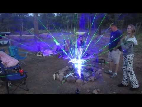 Wicked Lasers Spyder III 3 Arctic and Krypton burning lasers and Galaxy lens with camp fire