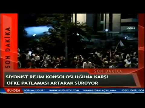 Gaza: Huge protest outside Israeli embassy in İstanbul for Gaza