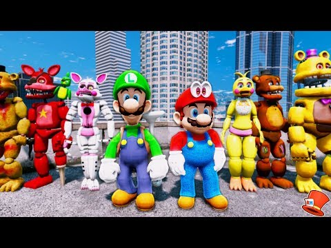 ANIMATRONICS & SUPER MARIO BROS ODYSSEY ADVENTURE! (GTA 5 Mods For Kids FNAF RedHatter)