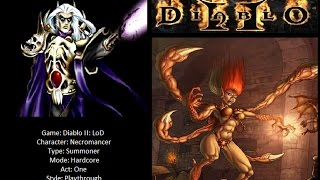 Diablo II - Hardcore - Act 1 - Summon Necromancer - Playthrough