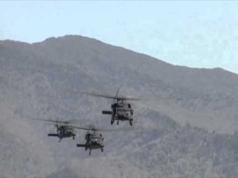 US Army Black Hawks fly over Mountain Air (2NC0)