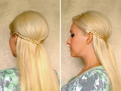 Romantic half up half down hairstyle with braid Alltags frisuren mit zöpfen für mittel lange haare