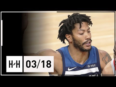 Derrick Rose Full Highlights Wolves vs Rockets (2018.03.18) - 14 Points off the Bench!