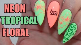 HOW TO: NEON TROPICAL FLORAL ACRYLIC NAILS TUTORIAL