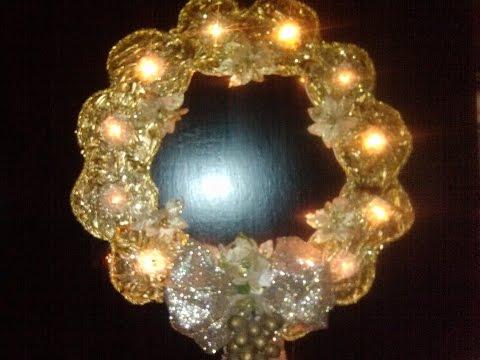 CORONA DE NAVIDAD ILUMINADA HECHA CON CDS  / HOW TO MAKE A LIGHTED CHRISTMAS WREATH OUT OF OLD CD
