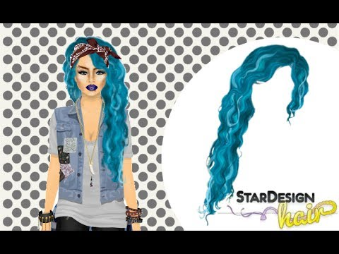 NEW StarDesign Hair Set: Stardoll Stardesign Hair Tutorial - Blue Mermaid Hair