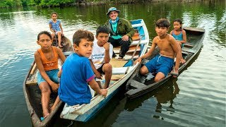 Amazon Village KIDS take ME Fishing!!! (Surprise Catch)