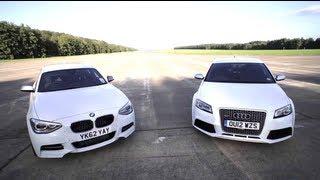 BMW M135i v Audi RS3: Road, Track, Drag-race. - /CHRIS HARRIS ON CARS