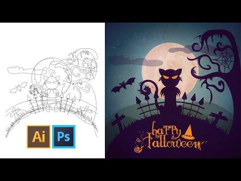 Illustration Vectorielle - Créer Un Visuel Spécial Halloween Avec Ce Tuto Gratuit Illustrator video