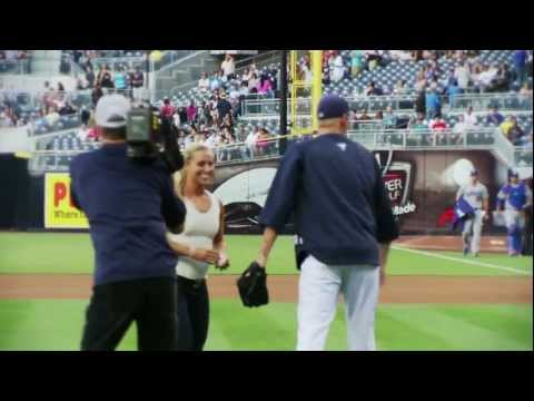 Dominika Cibulkova pitches at the San Diego Padres' Petco Park