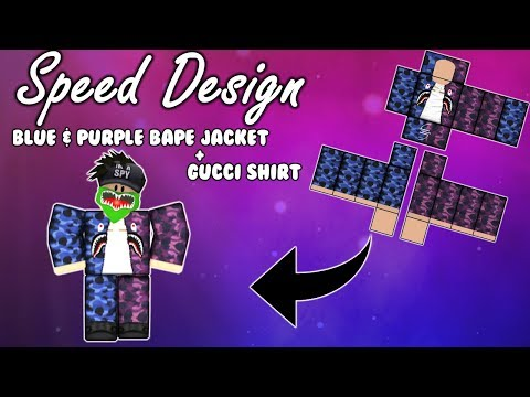Purple+Blue Bape Jacket & Gucci Shirt l Speed Design #1