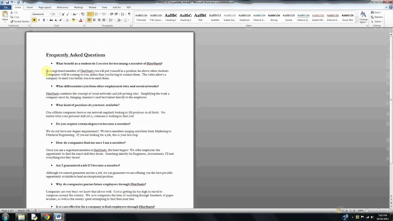 how to create bullet points in word