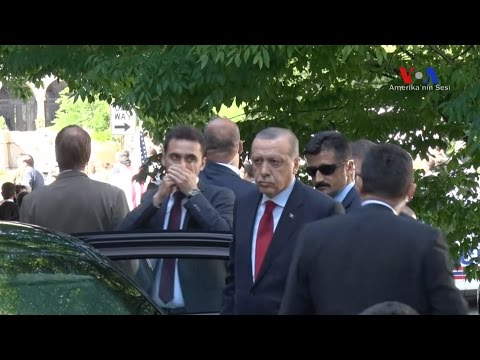 Turkish President Erdogan at the Turkish Embassy in Washington watching Tuesday's violent clash