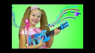 Polina & Mary Pretend Play Guitar Music Toys & Sing Kids Songs Nursery Rhymes