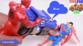 Learn Colors With Spiderman vs Superman ! Funny Heros Nursery Rhymes ! 4k Best #Toys for kids videos