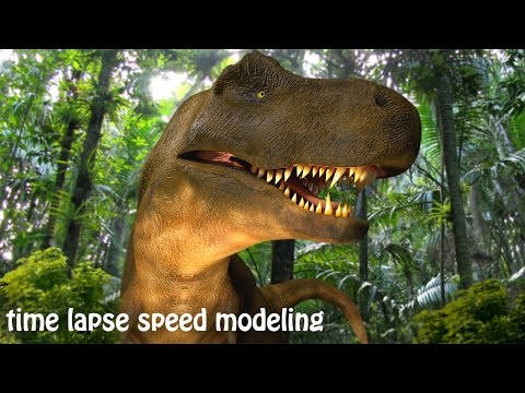 time lapse speed modeling T-rex, blender