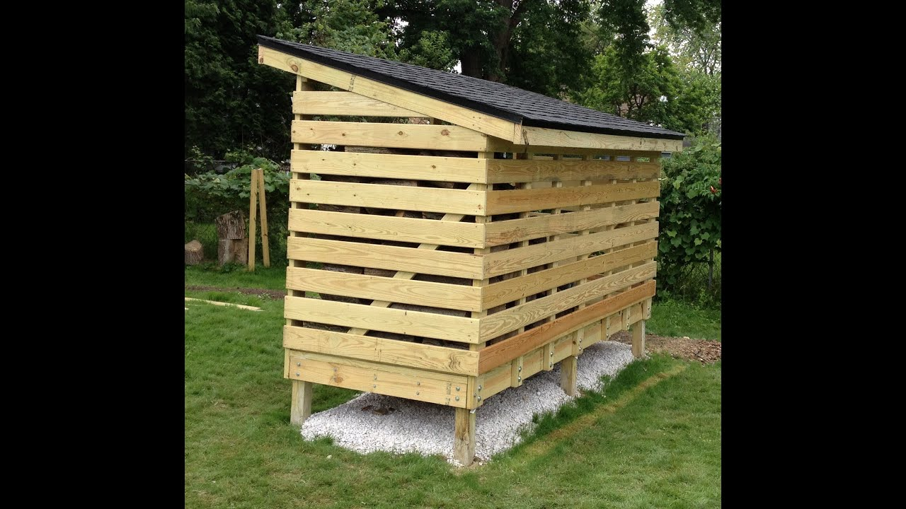 How to build a firewood storage shed youtube for Wood shed plans