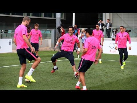 Claudio Bravo completa su primer entrenamiento con el FC Barcelona