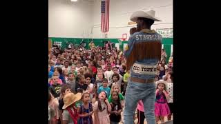 Lil Nas X surprising the kids of Lander Elementary