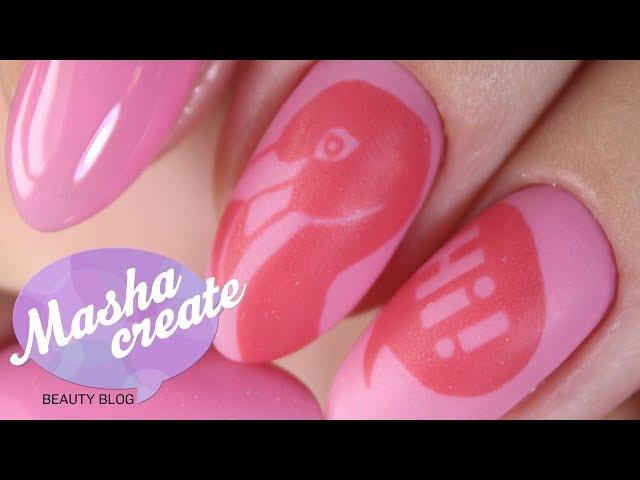 """Модный маникюр 2017.  Розовый маникюр с рисунком """"Фламинго"""". Дизайн ногтей Термо гель лаком UNO"""