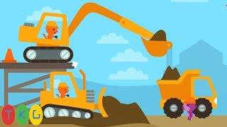 Xe Xúc Đất, Xe Ủi Đất, Xe Tải, Xe Công Trình | Construction Trucks Video for Kids | TopKidsGames