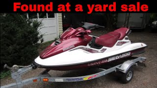 Will it Run? Broken yard sale jet ski.part 1