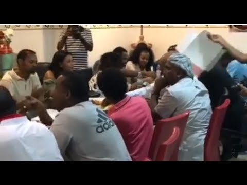 Ethiopian artists dining in Dubai's Habesha restaurant
