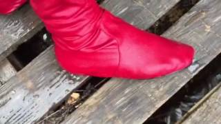 Wet red boots
