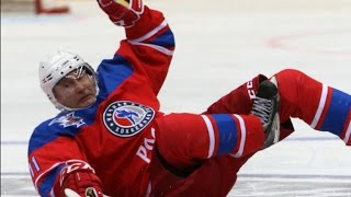 Vladimir Putin tumbles during hockey game