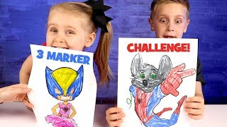 3 Marker Challenge with Spider-Man, Chuck E Cheese and Avengers Infinity War!