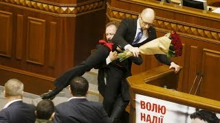 Big fight in Ukraine parliament after opposition MP goes for PM Yatsenyuk's crotch