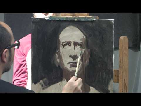 Sean Cheetham Painting a Portrait