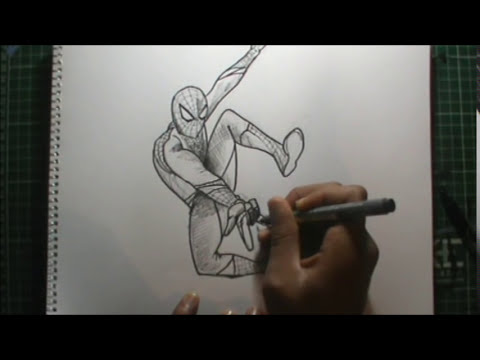 Dibujando a SPIDERMAN 4 a lápiz en vivo