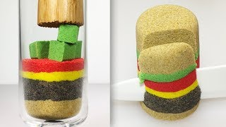 Most Satisfying Kinetic Sand Burger Video | Sand Cutting | ASMR