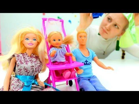 Куклы #БАРБИ и #ПУПСЫ: #Кен собирает Штеффи на прогулку. Игры для девочек  Мамы и Дочки