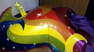 Unicorn mylar balloon deflating
