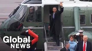Download Barack and Michelle Obama wave goodbye to Washington 3Gp Mp4