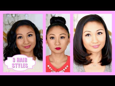 3 Easy Hairstyles for Short Hair, Medium Hair!
