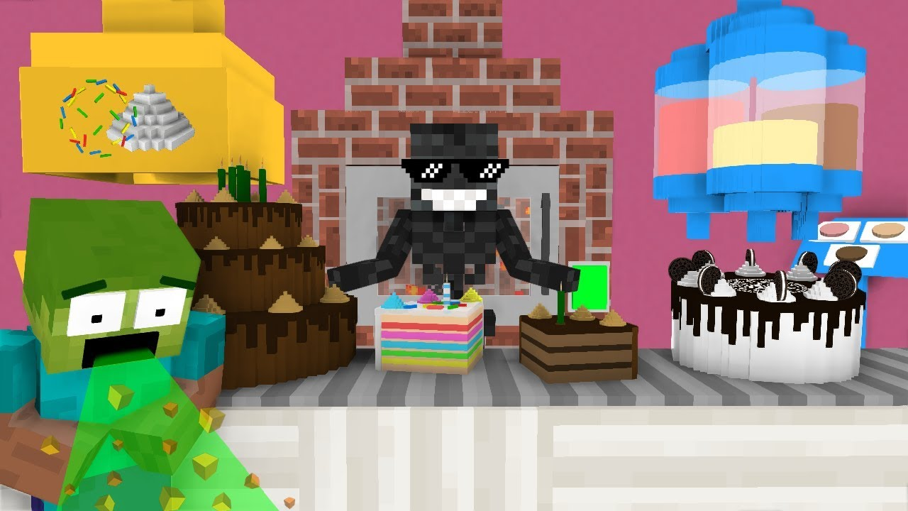 Monster School: WORK AT CAKES PLACE! - Minecraft Animation