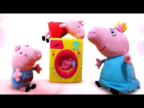 Свинка Пеппа, мультики для малышей. Свинки — ПОРОСЯТА. Давайте купим стиральную машину Маме Свинке!