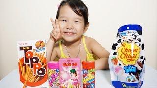 Bóc và thử vị kẹo chupa chups, Toppo, Lotte Bub-Up, Big Babol