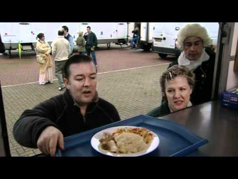 Extras: Series 1 Ricky Gervais hassles the lunch server (BBC Comedy)