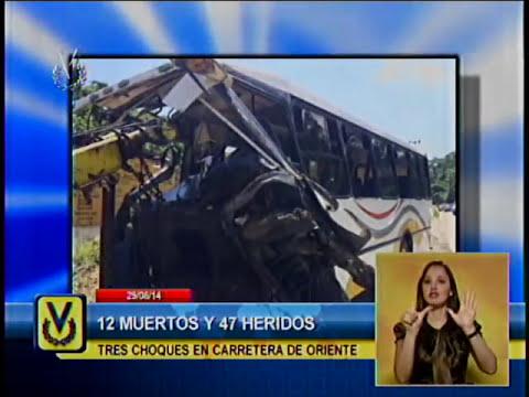 12 fallecidos y 49 lesionados en tres accidentes de tránsito en Miranda