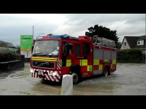 Fire & Rescue engine response at St Asaph Flooding Floods Disaster Wales 27.11.12