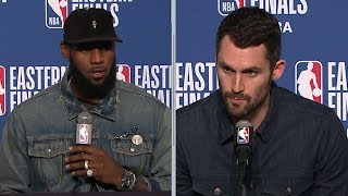 LeBron & Kevin Love Postgame Interview - Game 3 | Celtics vs Cavaliers | 2018 NBA East Finals