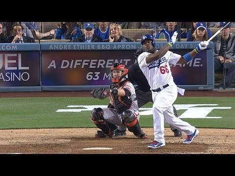 Puig takes pitch, launches homer, gets heated