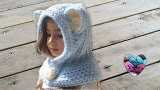 Bonnet capuche crochet toutes tailles / Bear hooded beanie crochet all sizes (english subtitles)